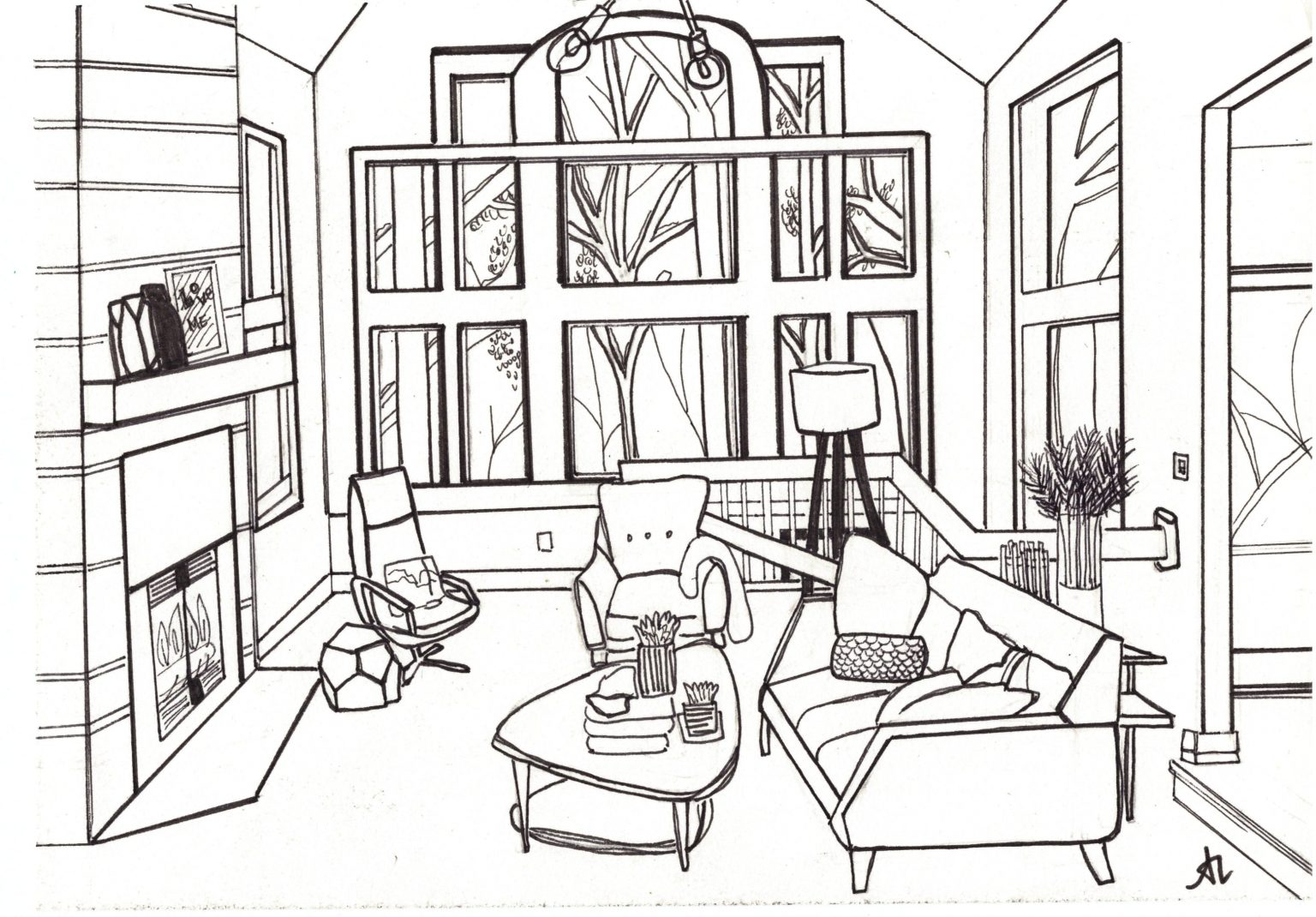 Living Room2019, ink on paper, 8.5 x11