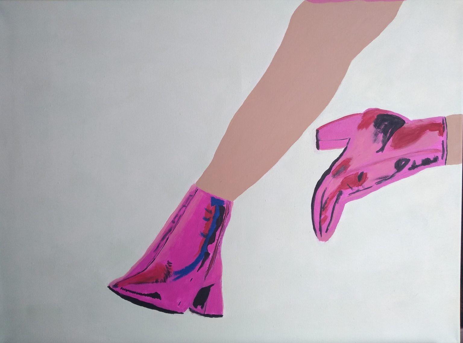 Pink Boots, 2021, 18x24, Acrylic on canvas